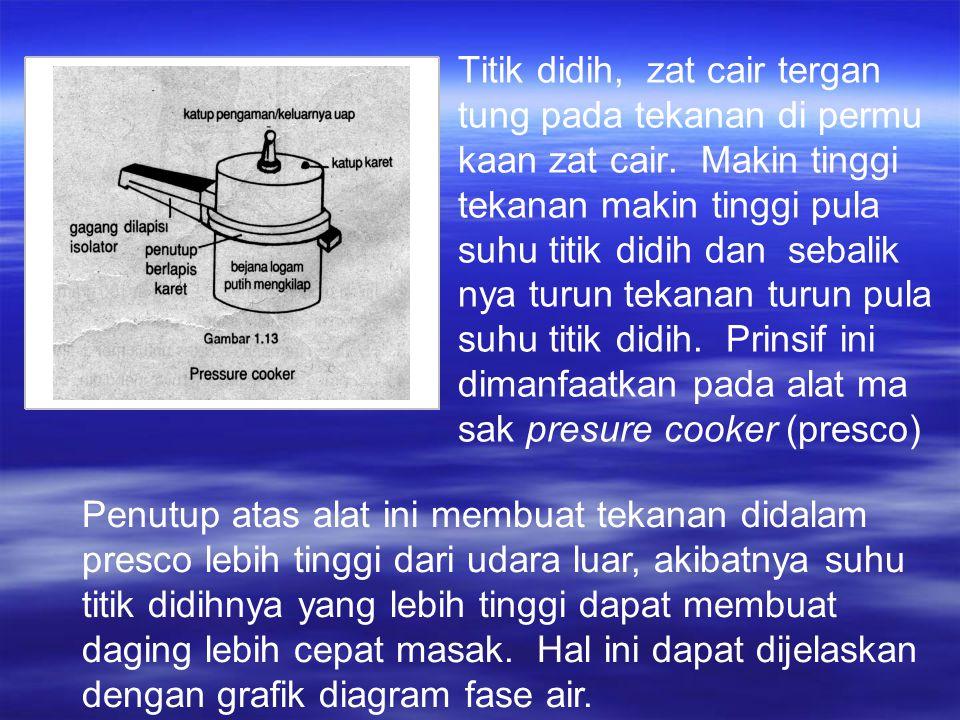 Titik didih, zat cair tergan tung pada tekanan di permu kaan zat cair