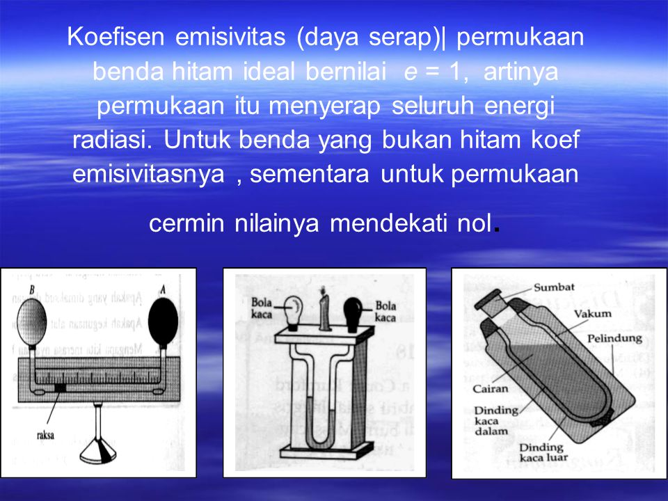 Koefisen emisivitas (daya serap)| permukaan benda hitam ideal bernilai e = 1, artinya permukaan itu menyerap seluruh energi radiasi.