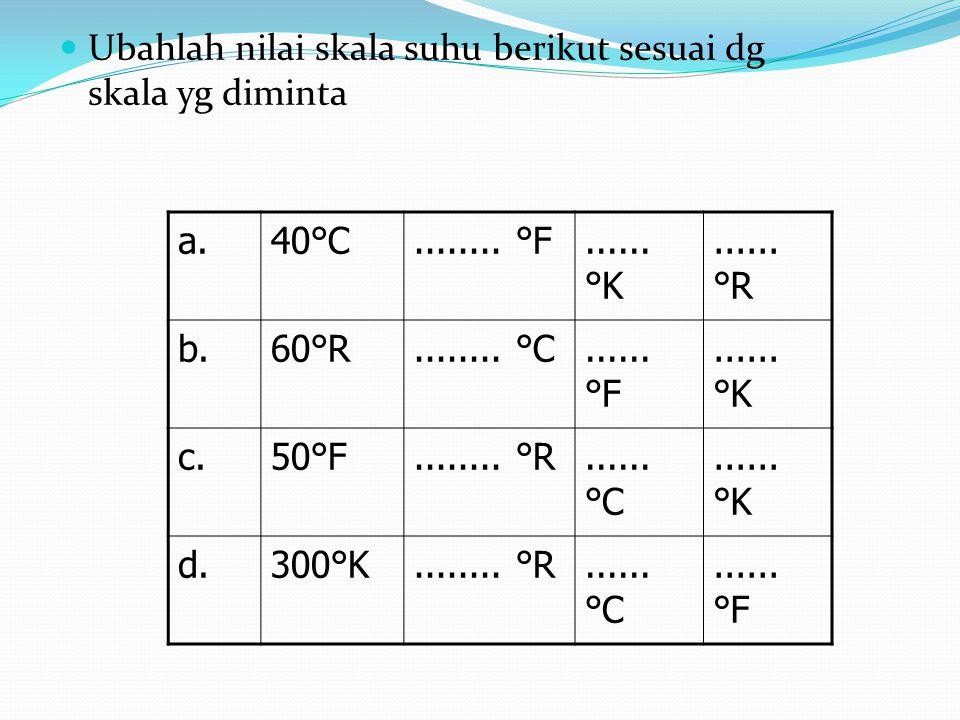 Ubahlah nilai skala suhu berikut sesuai dg skala yg diminta