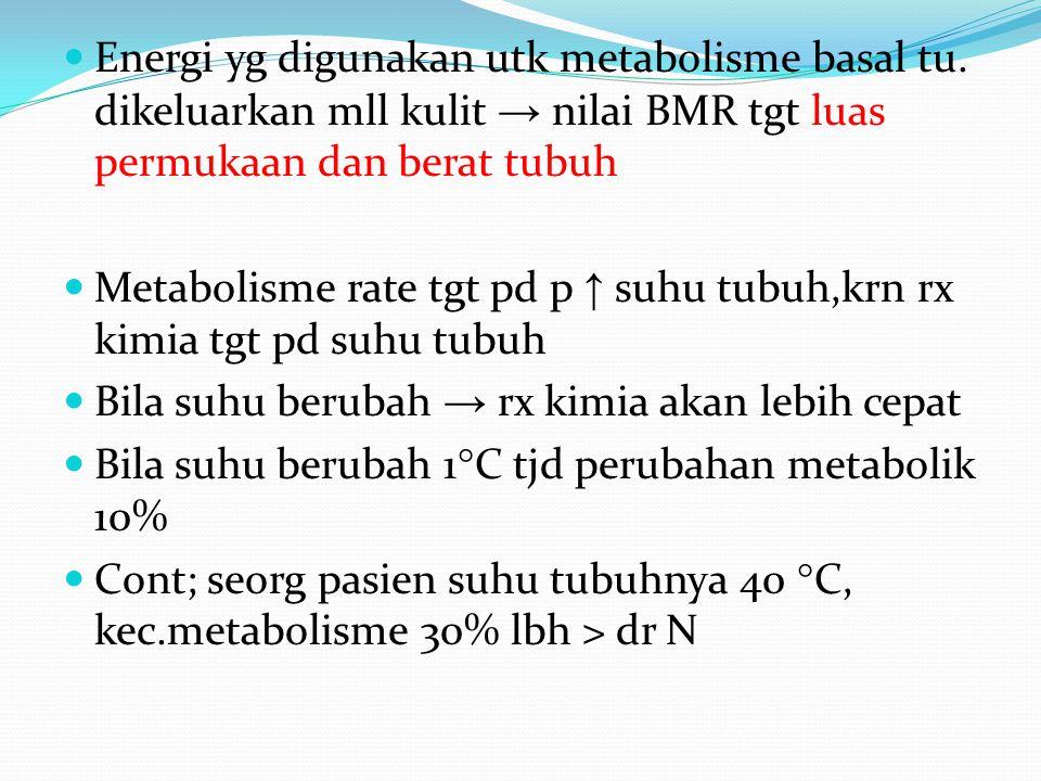 Energi yg digunakan utk metabolisme basal tu