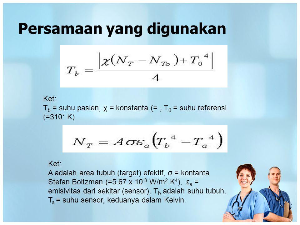 Persamaan yang digunakan