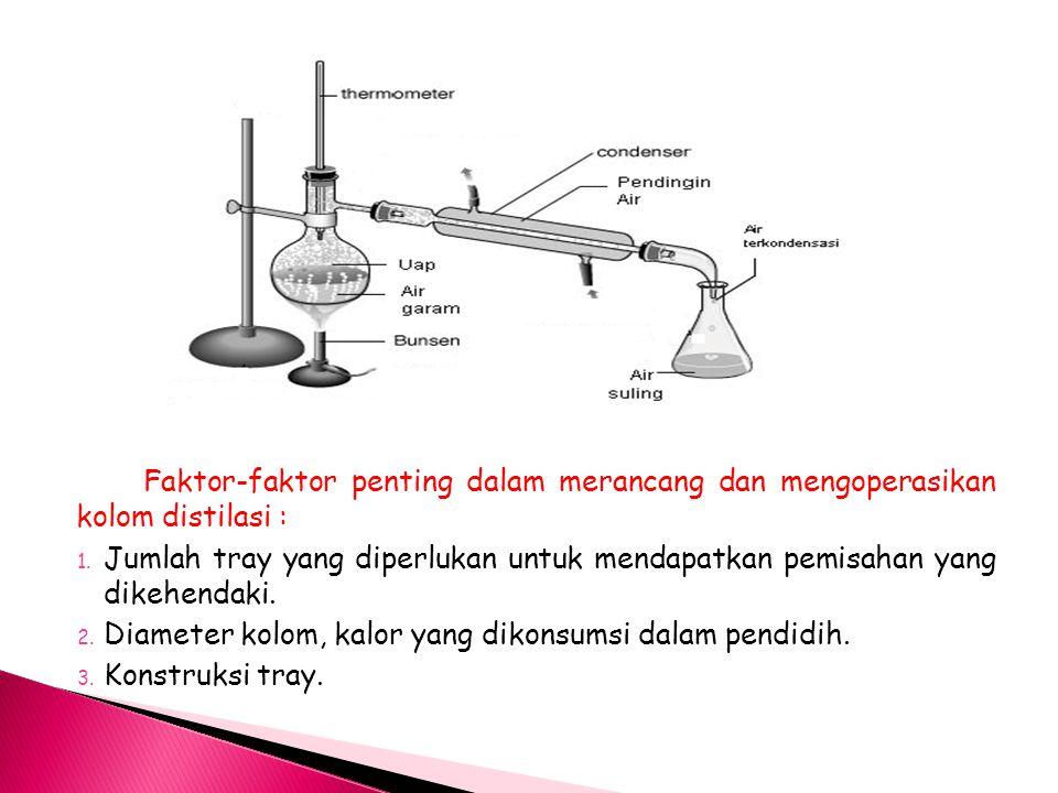 Faktor-faktor penting dalam merancang dan mengoperasikan kolom distilasi :