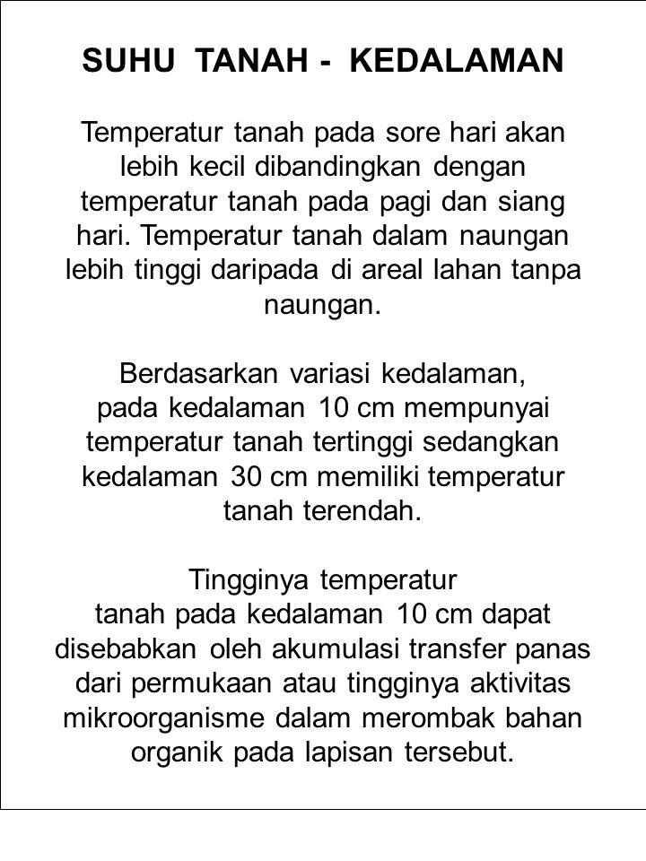 SUHU TANAH - KEDALAMAN Temperatur tanah pada sore hari akan