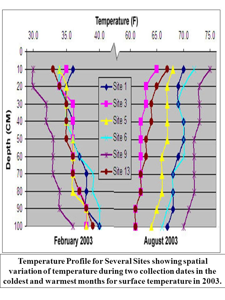 Temperature Profile for Several Sites showing spatial variation of temperature during two collection dates in the coldest and warmest months for surface temperature in 2003.