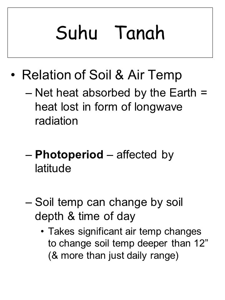Suhu Tanah Relation of Soil & Air Temp