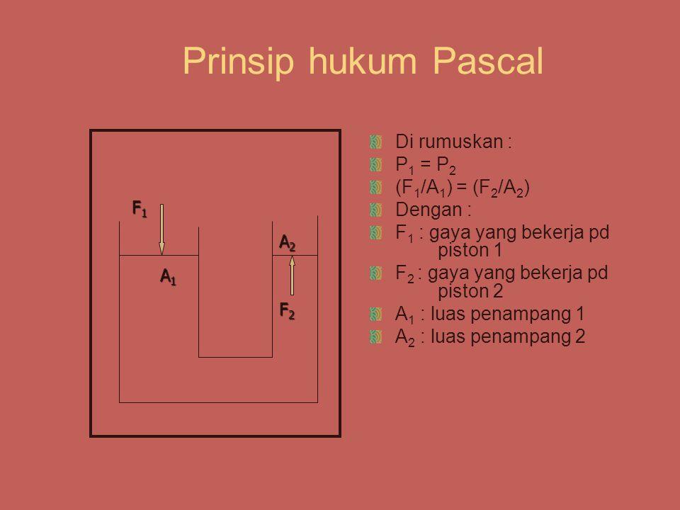 Prinsip hukum Pascal Di rumuskan : P1 = P2 (F1/A1) = (F2/A2) Dengan :
