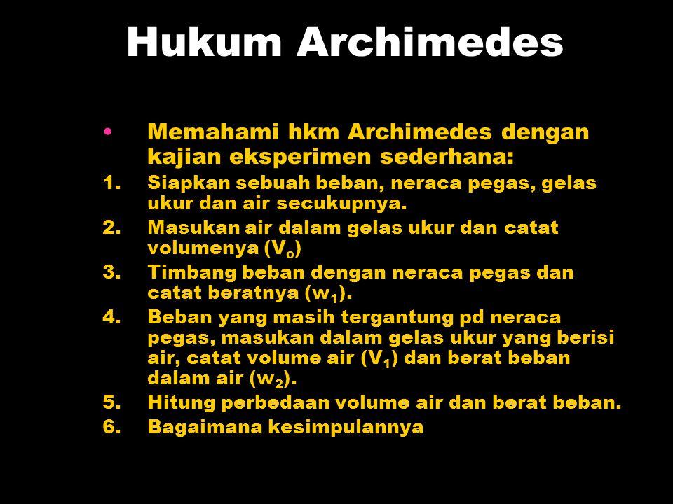 Hukum Archimedes Memahami hkm Archimedes dengan kajian eksperimen sederhana: 1. Siapkan sebuah beban, neraca pegas, gelas ukur dan air secukupnya.