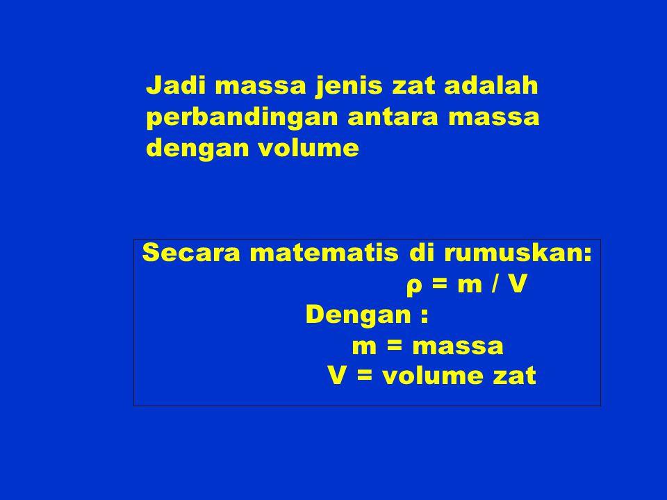 Jadi massa jenis zat adalah perbandingan antara massa dengan volume