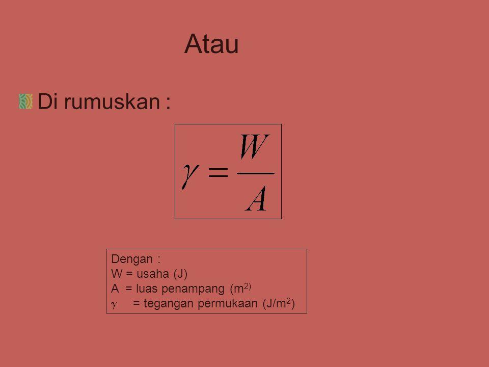 Atau Di rumuskan : Dengan : W = usaha (J) A = luas penampang (m2)