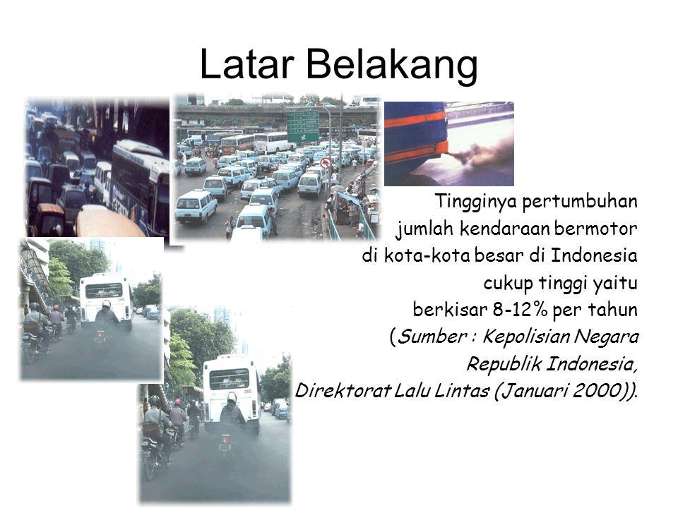 Latar Belakang Tingginya pertumbuhan jumlah kendaraan bermotor