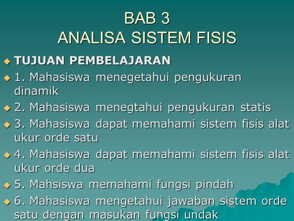 BAB 3 ANALISA SISTEM FISIS