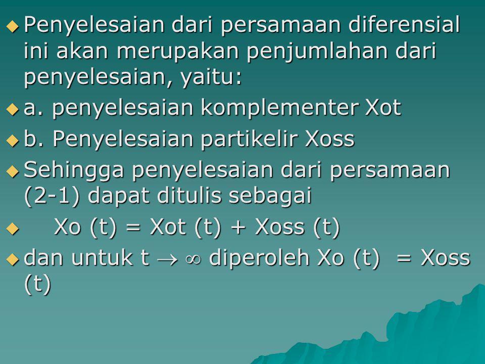 Penyelesaian dari persamaan diferensial ini akan merupakan penjumlahan dari penyelesaian, yaitu: