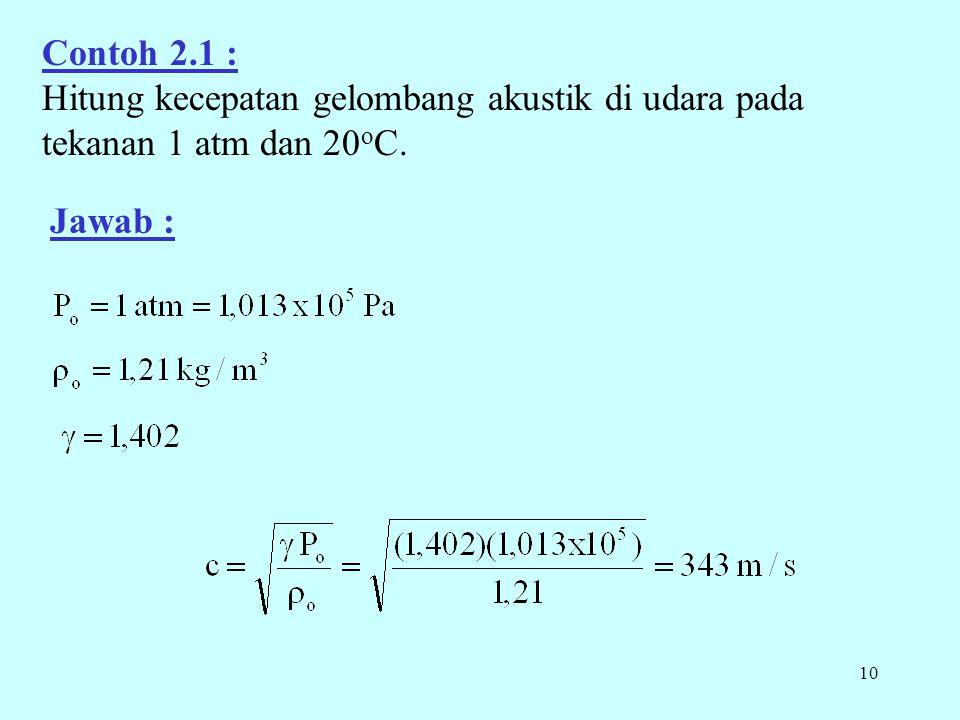 Contoh 2.1 : Hitung kecepatan gelombang akustik di udara pada tekanan 1 atm dan 20oC. Jawab :