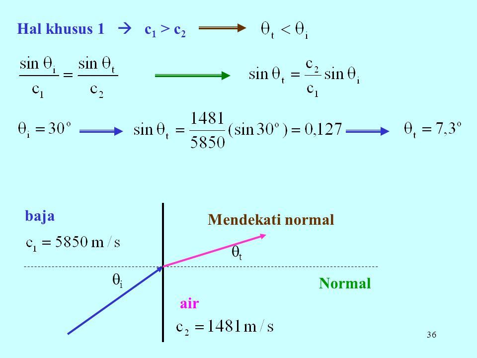 Hal khusus 1  c1 > c2 baja Mendekati normal t i Normal air