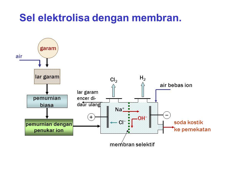 Sel elektrolisa dengan membran.