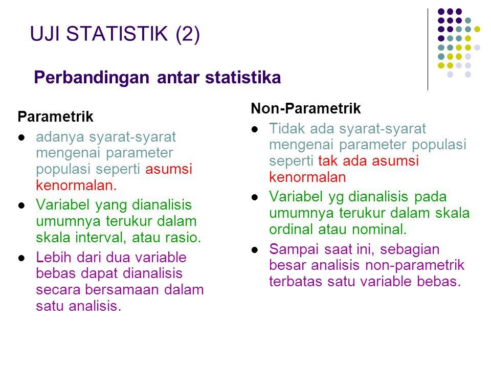 UJI STATISTIK (2) Perbandingan antar statistika Non-Parametrik