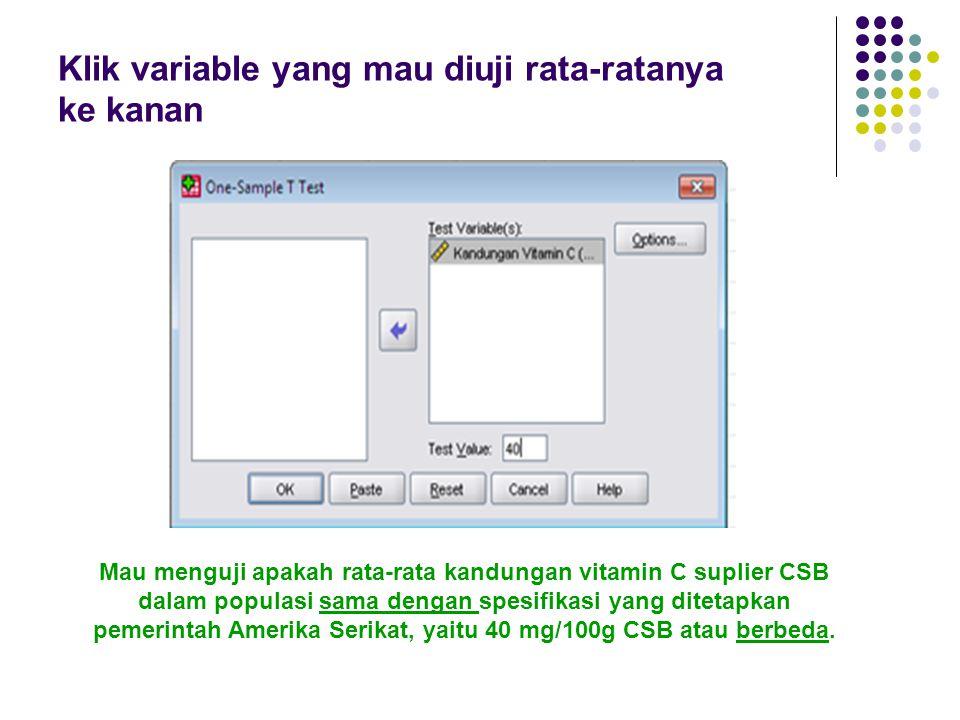 Klik variable yang mau diuji rata-ratanya ke kanan