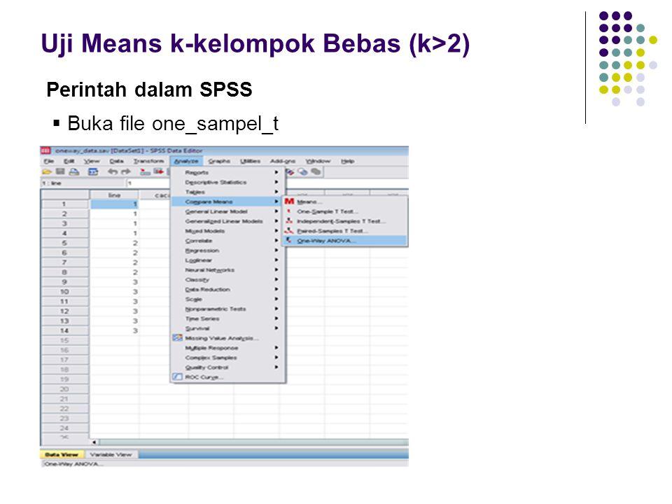 Uji Means k-kelompok Bebas (k>2)