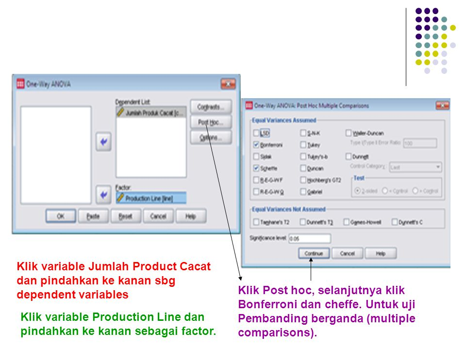 Klik variable Jumlah Product Cacat dan pindahkan ke kanan sbg dependent variables
