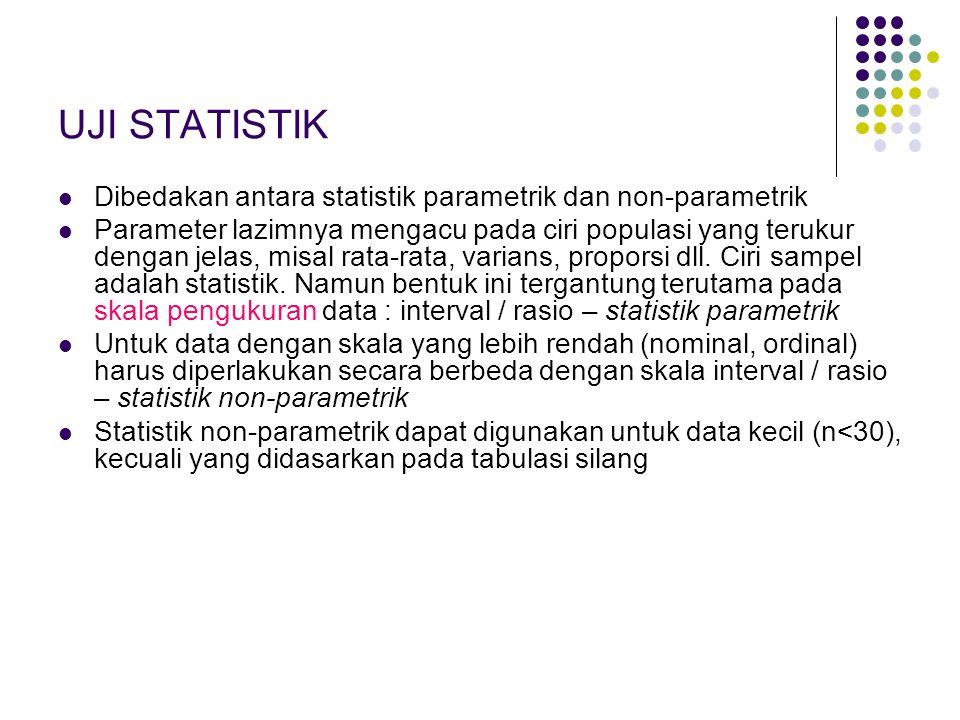 UJI STATISTIK Dibedakan antara statistik parametrik dan non-parametrik