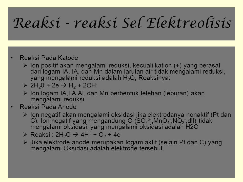Reaksi - reaksi Sel Elektreolisis