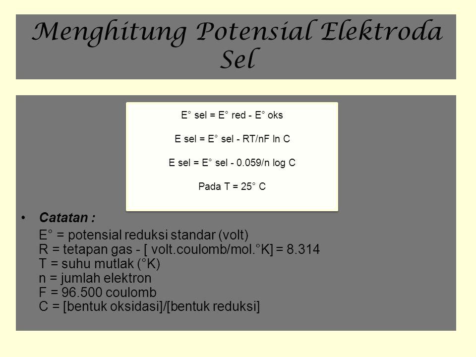 Menghitung Potensial Elektroda Sel