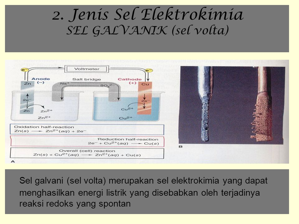 2. Jenis Sel Elektrokimia SEL GALVANIK (sel volta)