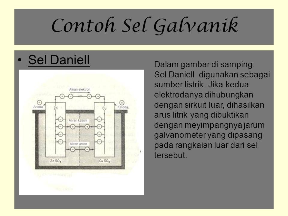 Contoh Sel Galvanik Sel Daniell Dalam gambar di samping: