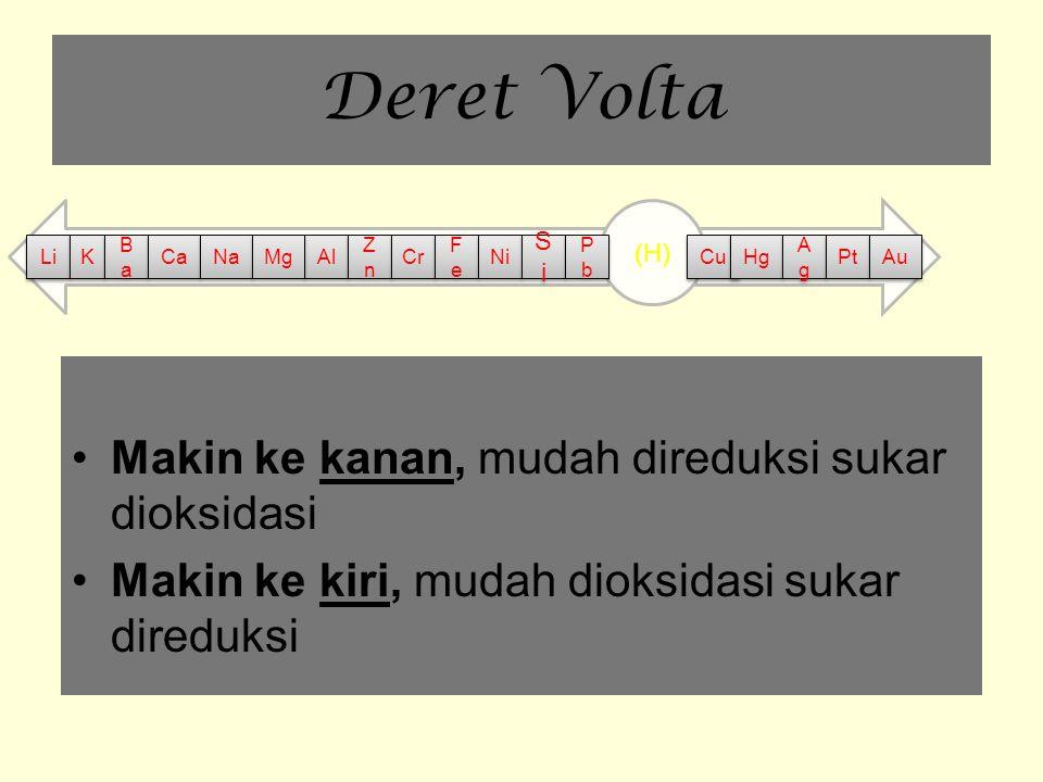 Deret Volta Makin ke kanan, mudah direduksi sukar dioksidasi