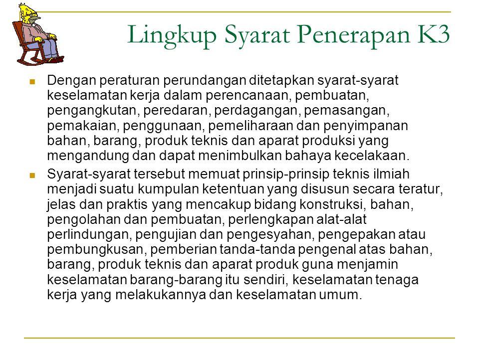 Lingkup Syarat Penerapan K3