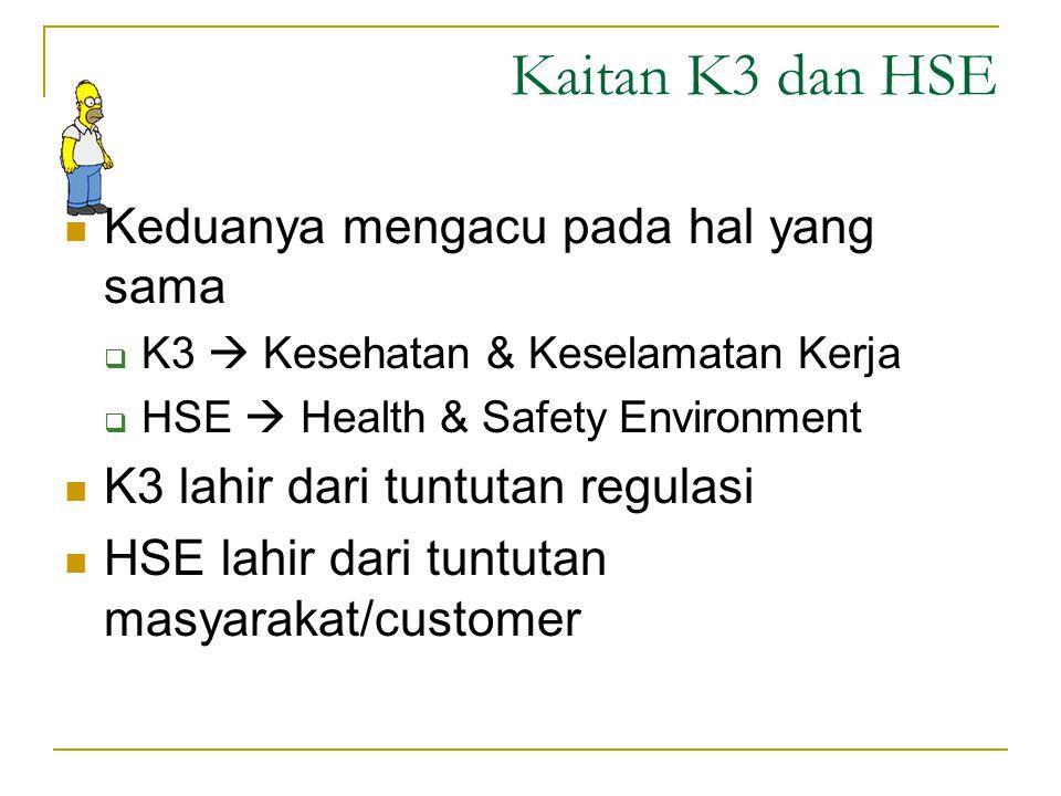 Kaitan K3 dan HSE Keduanya mengacu pada hal yang sama
