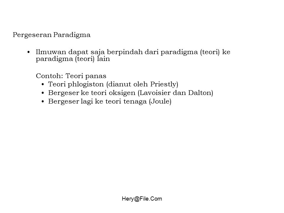 Teori phlogiston (dianut oleh Priestly)