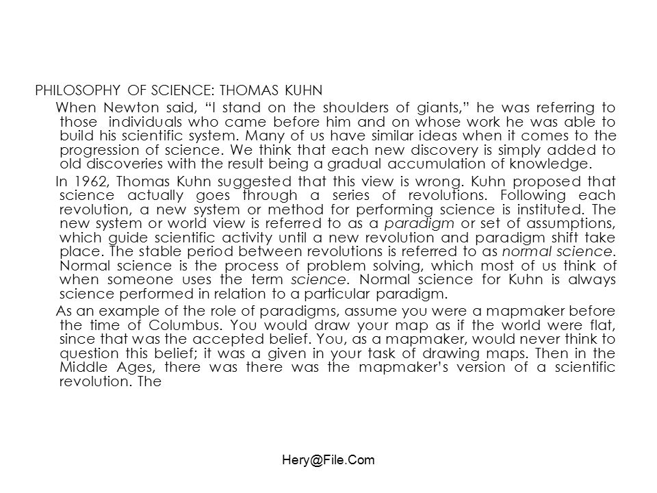 PHILOSOPHY OF SCIENCE: THOMAS KUHN