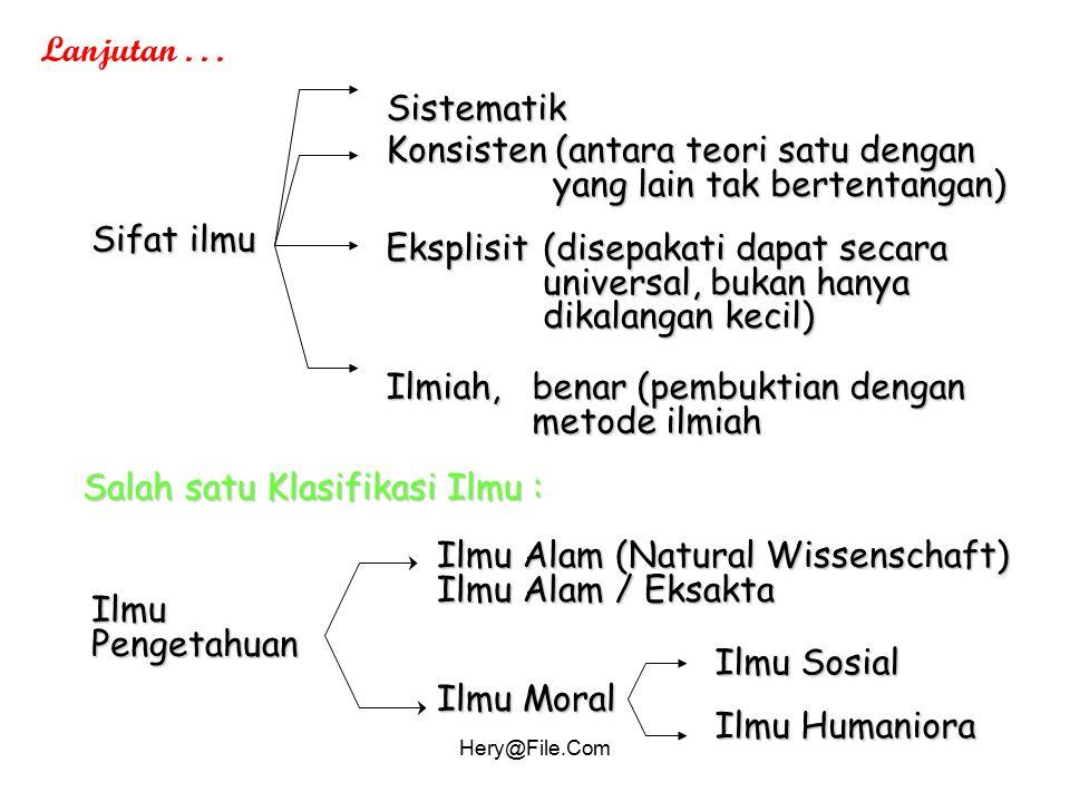 Konsisten (antara teori satu dengan yang lain tak bertentangan)
