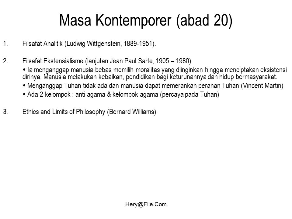 Masa Kontemporer (abad 20)