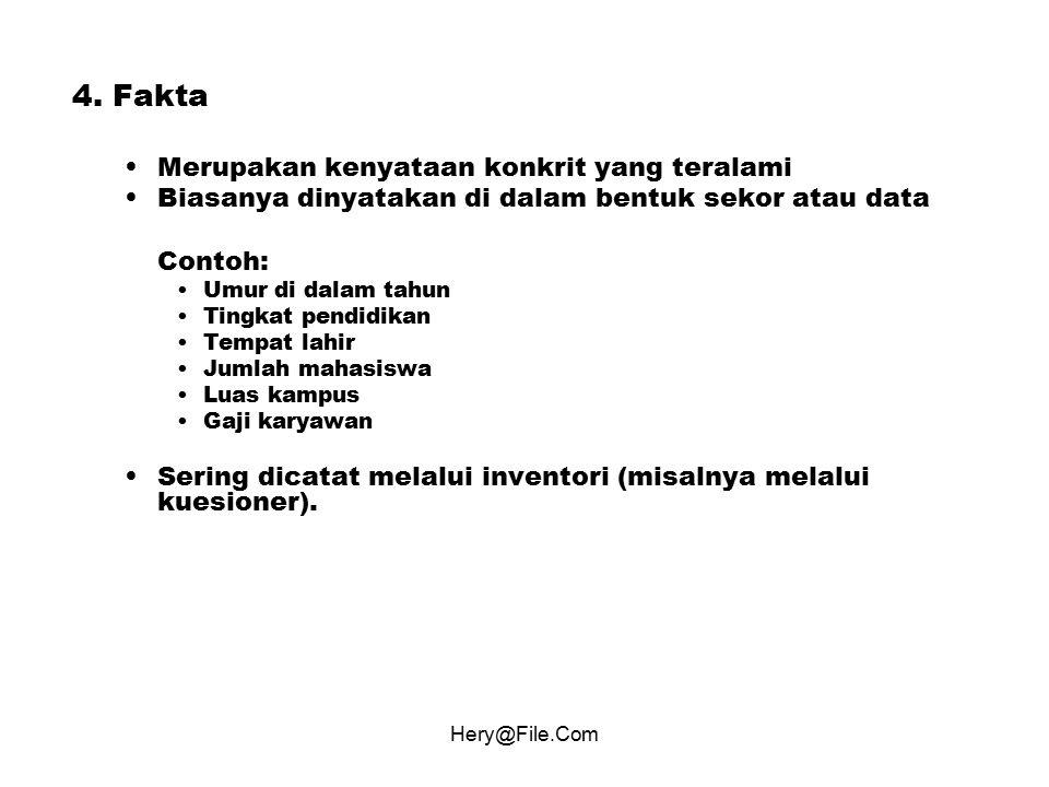 4. Fakta Merupakan kenyataan konkrit yang teralami