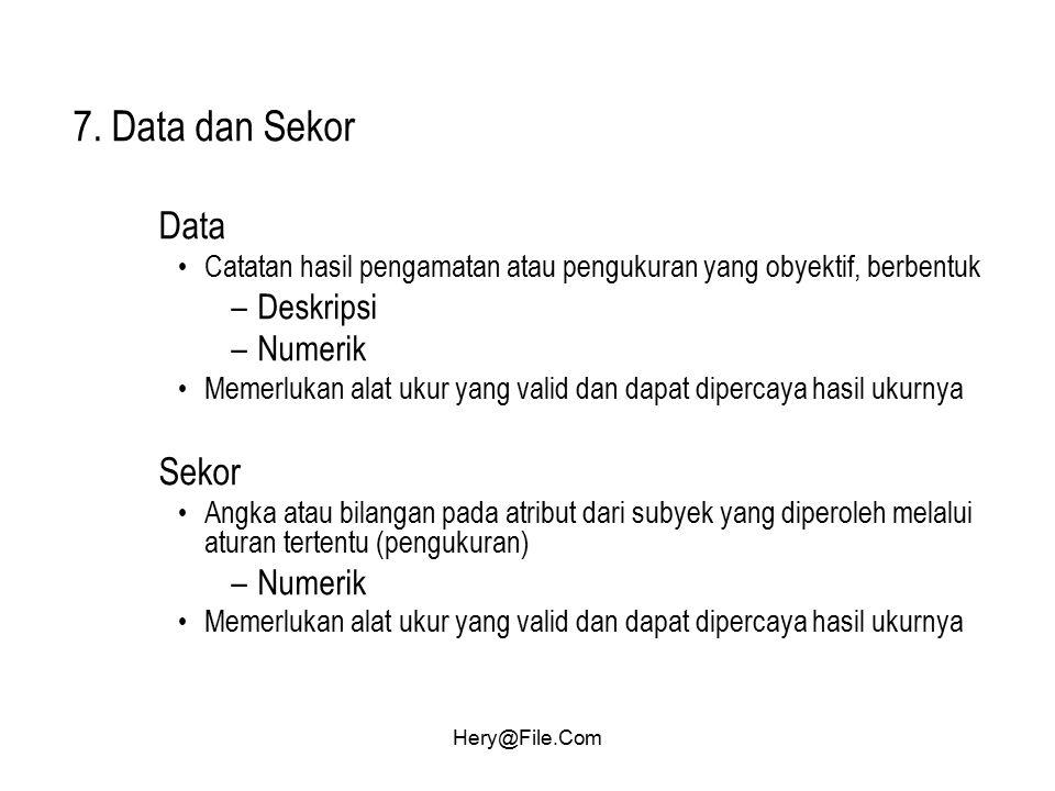 7. Data dan Sekor Data Sekor Deskripsi Numerik