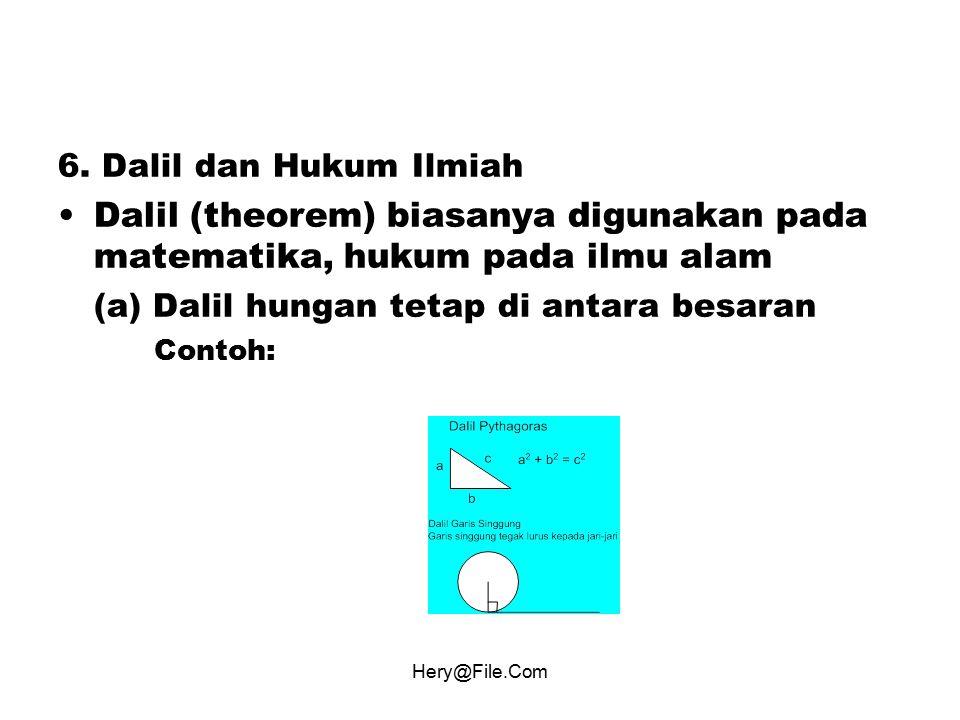 6. Dalil dan Hukum Ilmiah Dalil (theorem) biasanya digunakan pada matematika, hukum pada ilmu alam.
