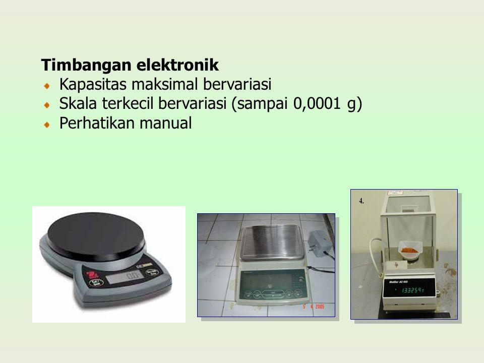 Timbangan elektronik Kapasitas maksimal bervariasi.
