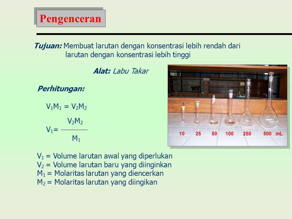 Pengenceran Tujuan: Membuat larutan dengan konsentrasi lebih rendah dari. larutan dengan konsentrasi lebih tinggi.