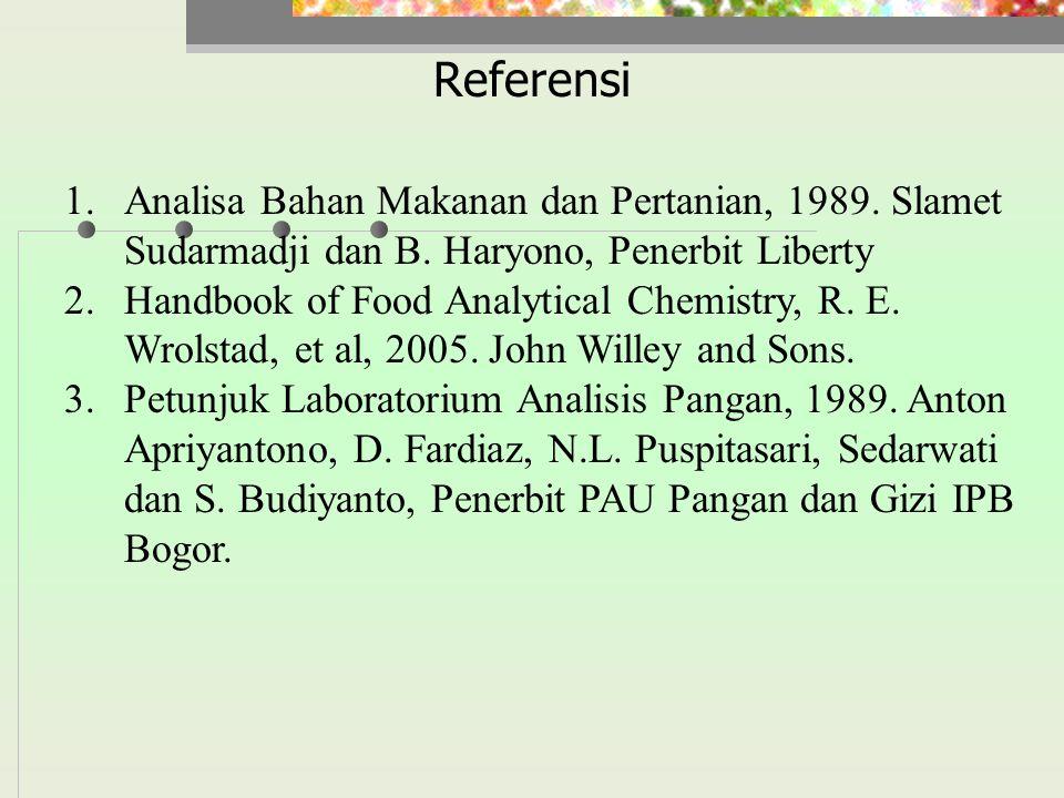 Referensi Analisa Bahan Makanan dan Pertanian, 1989. Slamet Sudarmadji dan B. Haryono, Penerbit Liberty.