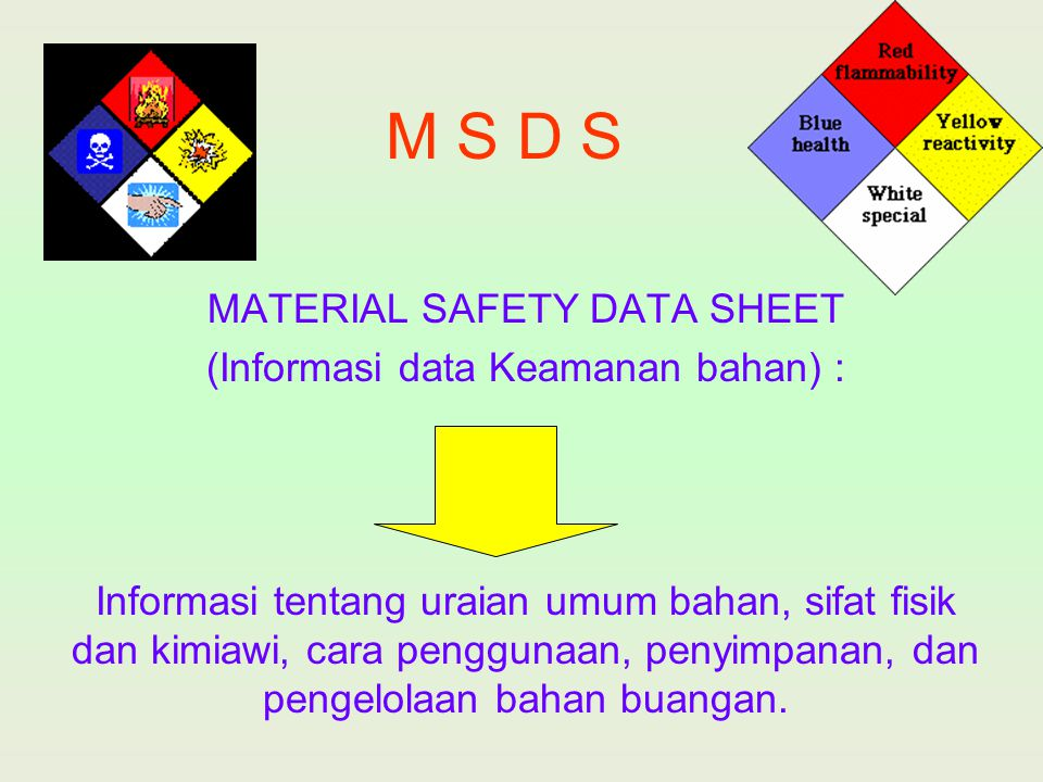 M S D S MATERIAL SAFETY DATA SHEET (Informasi data Keamanan bahan) :