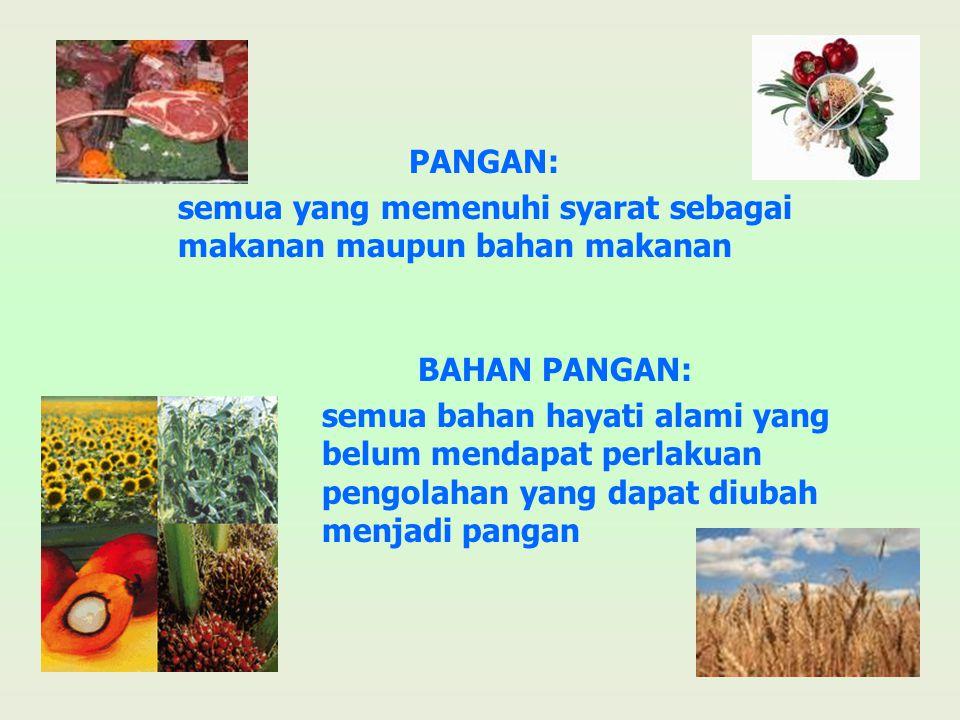 PANGAN: semua yang memenuhi syarat sebagai makanan maupun bahan makanan. BAHAN PANGAN: