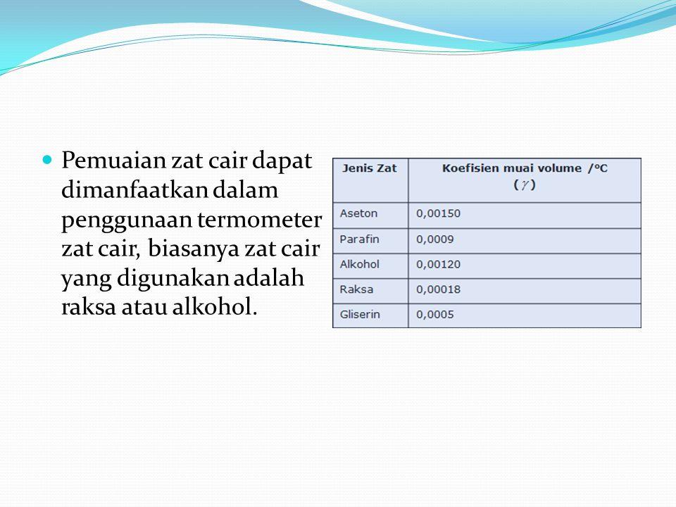 Pemuaian zat cair dapat dimanfaatkan dalam penggunaan termometer zat cair, biasanya zat cair yang digunakan adalah raksa atau alkohol.