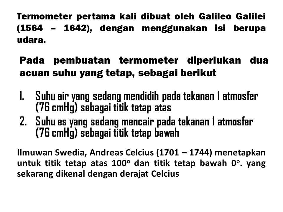 Termometer pertama kali dibuat oleh Galileo Galilei (1564 – 1642), dengan menggunakan isi berupa udara.