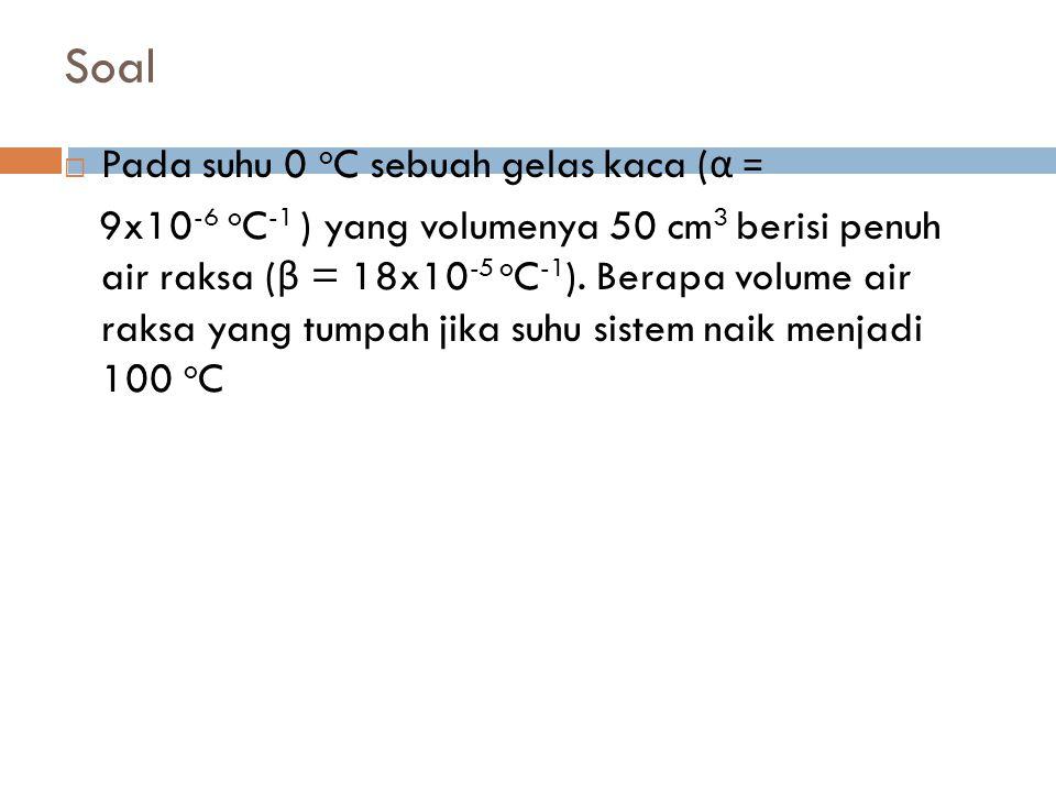 Soal Pada suhu 0 oC sebuah gelas kaca (α =