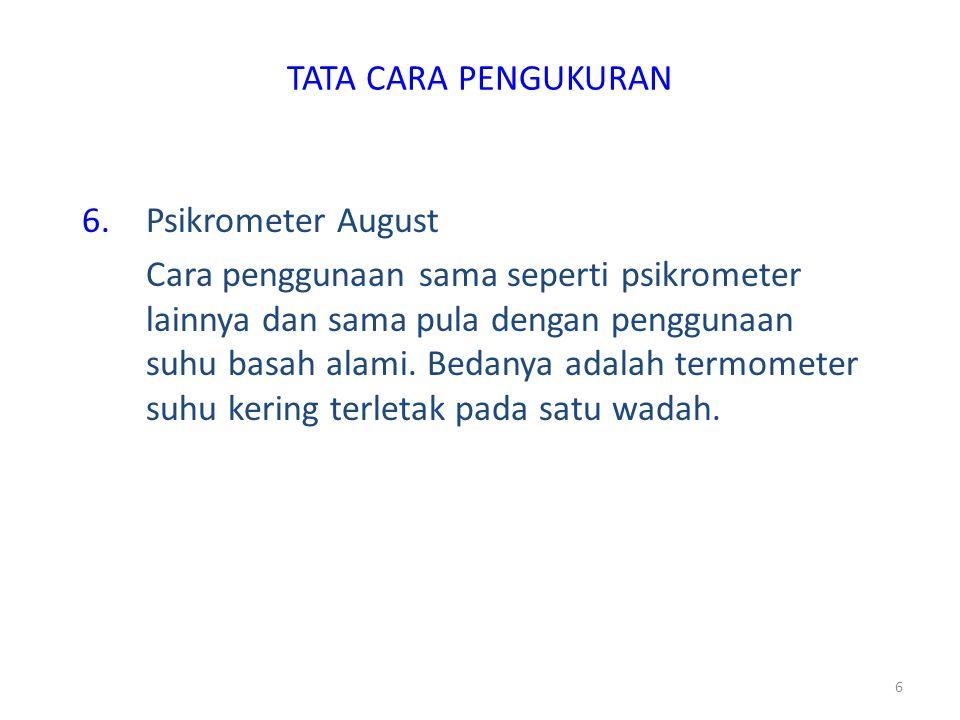 TATA CARA PENGUKURAN Psikrometer August.