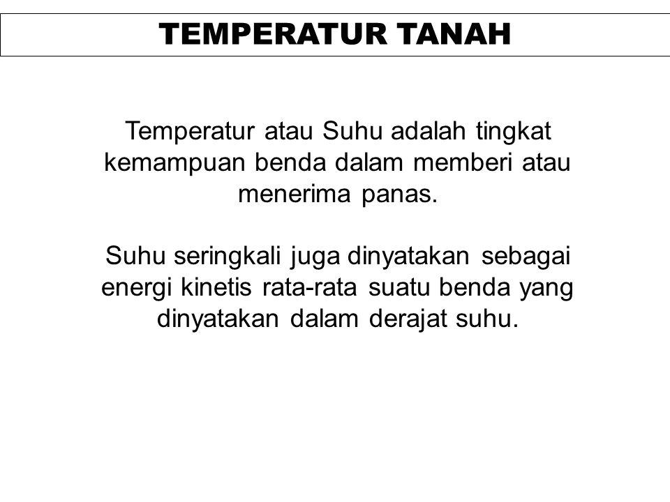 TEMPERATUR TANAH Temperatur atau Suhu adalah tingkat kemampuan benda dalam memberi atau menerima panas.