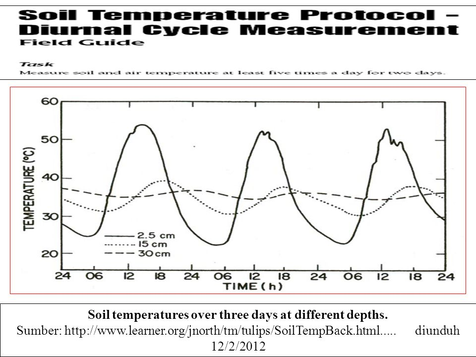 Soil temperatures over three days at different depths.