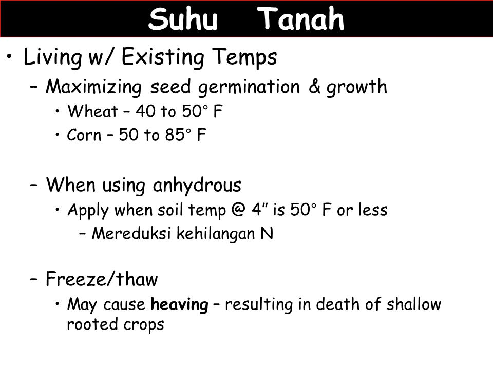 Suhu Tanah Living w/ Existing Temps